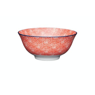 KitchenCraft Red Floral and Blue Edge Ceramic Bowls