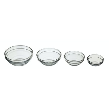 KitchenCraft Set of 4 Glass Condiments & Preparation Bowls