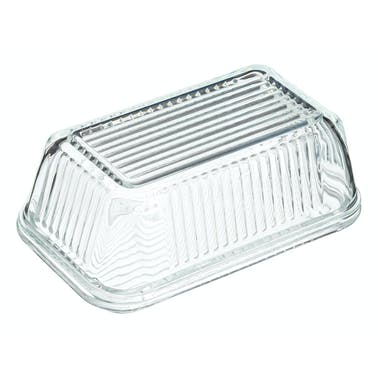 KitchenCraft Glass Embossed Vintage Style Covered Butter Dish