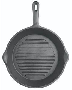 Photo of KitchenCraft Deluxe Cast Iron 24cm Round Ribbed Grill Pan