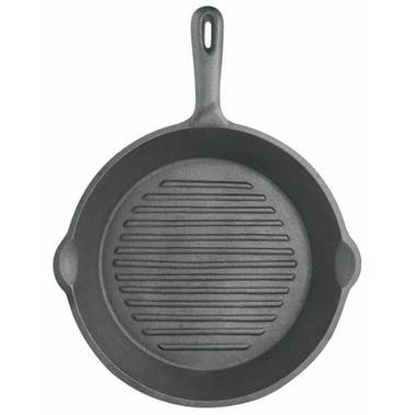 KitchenCraft Deluxe Cast Iron 24cm Round Ribbed Grill Pan