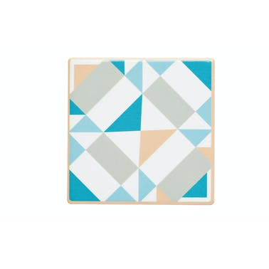 KitchenCraft Moroccan Inspired Green Geo Ceramic Coaster
