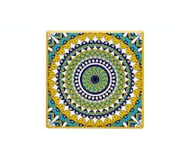 KitchenCraft Moroccan Inspired Mustard Mandala Ceramic Coaster