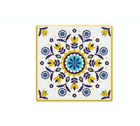 KitchenCraft Moroccan Inspired Mustard Floral Ceramic Coaster