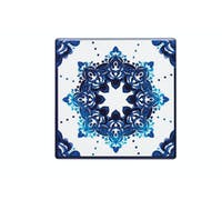 KitchenCraft Moroccan Inspired Blue Motif Ceramic Coaster