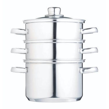 KitchenCraft Stainless Steel Three Tier 18cm Steamer