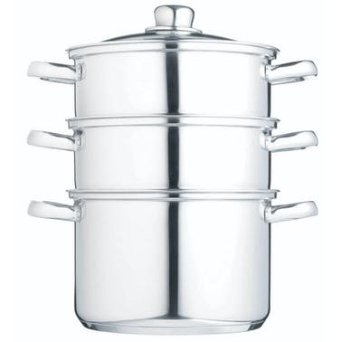 KitchenCraft Stainless Steel Three Tier 22cm Steamer