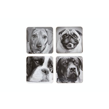 KitchenCraft Dog Cork Back Laminated Set of 4 Coasters
