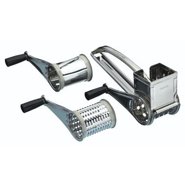 KitchenCraft Stainless Steel Rotary Grater With Three Drums