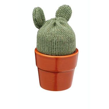 KitchenCraft Ceramic 'Cactus' Novelty Egg Cup with Knitted Egg Cosy