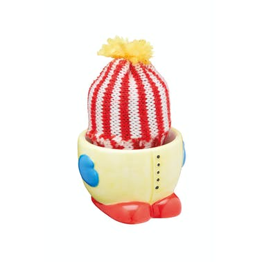 KitchenCraft Ceramic 'Keep-Me-Warm' Novelty Egg Cup with Knitted Egg Cosy Hat