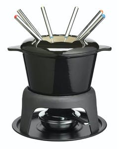Photo of MasterClass Cast Iron Enamelled Black Fondue Set