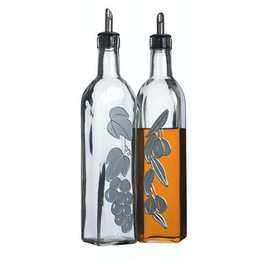 KitchenCraft World of Flavours Italian Set of 2 Glass Oil and Vinegar Bottles