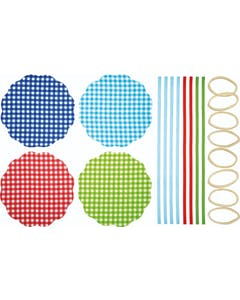 Photo of Home Made Pack of 8 Gingham Patterned Fabric Jam Cover Kits