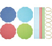 Home Made Pack of 8 Gingham Patterned Fabric Jam Cover Kits