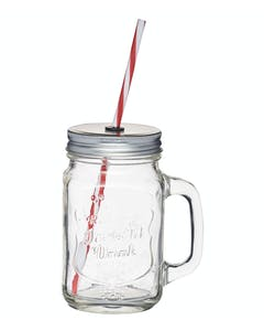 Photo of Home Made Traditional Glass Drinks Jar with Straw