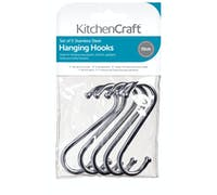 KitchenCraft Pack of Five 10cm Chrome Plated 'S' Hooks