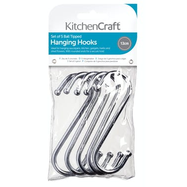KitchenCraft Pack of Five 13cm Chrome Plated 'S' Hooks