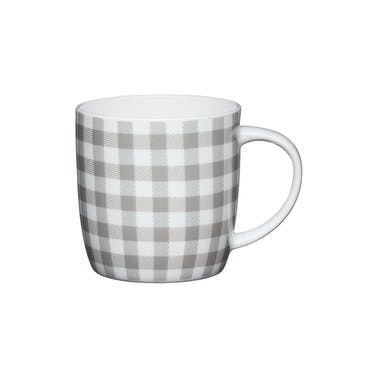 KitchenCraft Set of Four China Grey Gingham Mugs