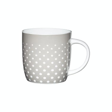 KitchenCraft Set of Four China Grey Polka Mugs