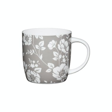 KitchenCraft Set of Four China Grey Floral Mugs