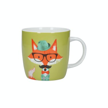 KitchenCraft China 425ml Fox Specs Barrel Shaped Mug