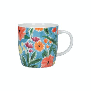 KitchenCraft China 425ml Abstract Flowers Barrel Shaped Mug
