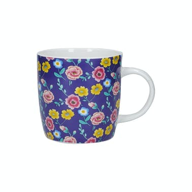 KitchenCraft China 425ml Navy Floral Barrel Shaped Mug