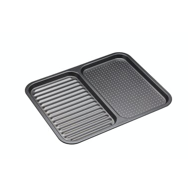 MasterClass Non-Stick 2-in-1 Divided Crisping Tray / Ridged Baking Tray