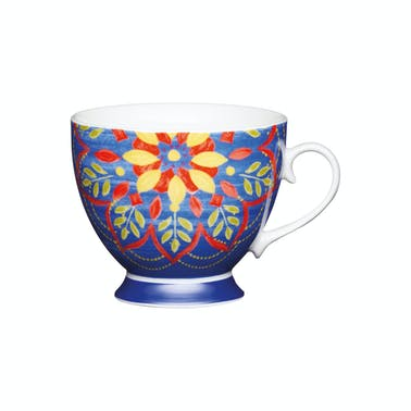 KitchenCraft Set of Four China Moroccan Blue Footed Mugs