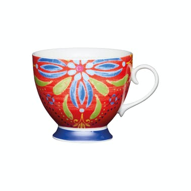 KitchenCraft Set of Four China Moroccan Red Footed Mugs