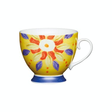 KitchenCraft Set of Four China Moroccan Yellow Footed Mugs