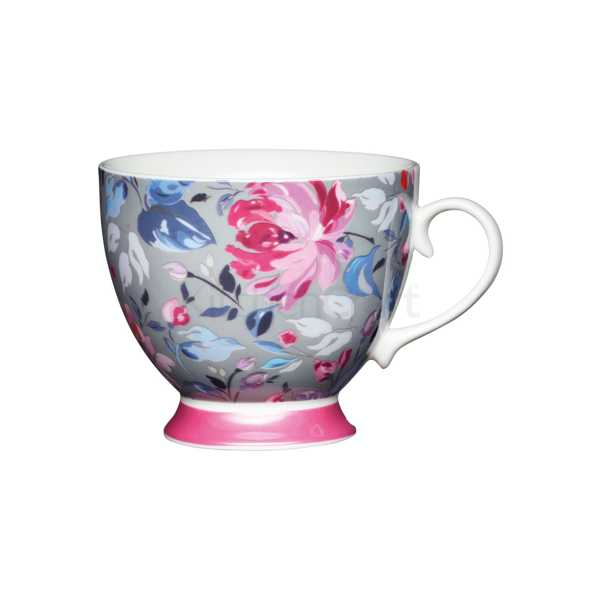 Kitchencraft Set Of Four China Grey Floral Footed Mugs
