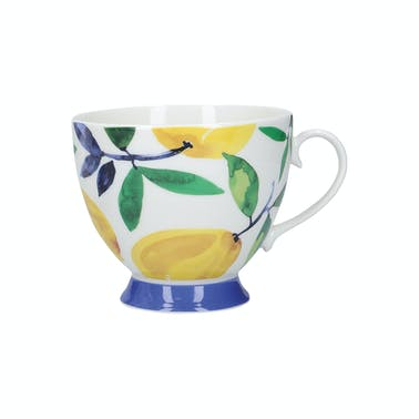KitchenCraft China Lemon Dream 400ml Footed Mug