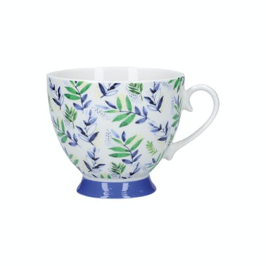 KitchenCraft China Leafy Lemon 400ml Footed Mug