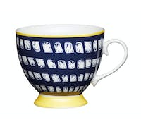 KitchenCraft Set of Four China Navy Squares Footed Mugs