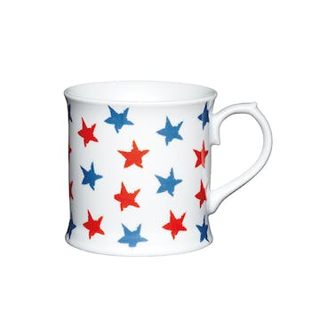 KitchenCraft Fine Porcelain Red and Blue Stars Mug