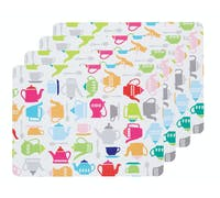 KitchenCraft Teapot Cork Back Laminated Set of 4 Placemats