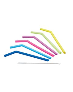 Photo of KitchenCraft Set of Six Silicone Straws with Cleaning Brush