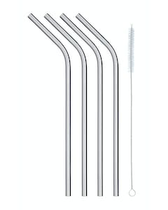 Photo of KitchenCraft Pack of Four Stainless Steel Reusable Drinks Straws