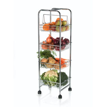 KitchenCraft Chrome Plated Four Tier Trolley
