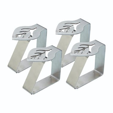 KitchenCraft Set of 4 Leaf Shaped Stainless Steel Table Cloth Clips