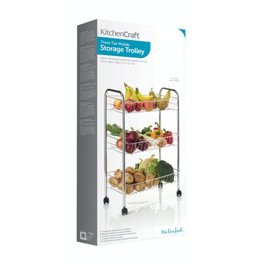 KitchenCraft Chrome Plated Three Tier Trolley