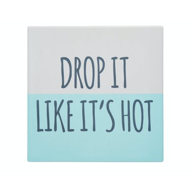 """KitchenCraft Square Trivet with Humorous """"Drop It Like It's Hot"""" Motif"""
