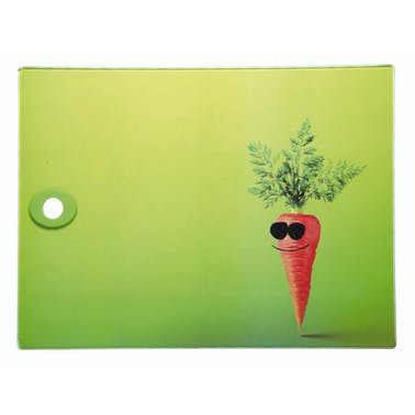 KitchenCraft Toughened Glass Rectangular Worktop Protector - Funky Carrot