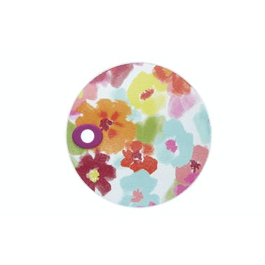KitchenCraft Toughened Glass Round Worktop Protector - Bright Floral