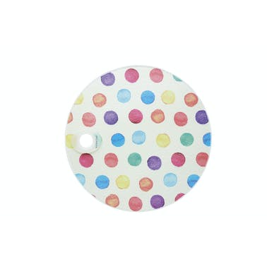 KitchenCraft Toughened Glass Round Worktop Protector - Polka Dot