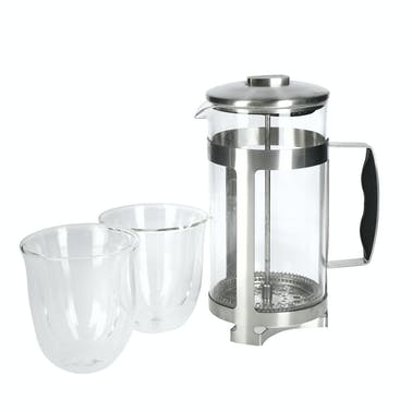 La Cafetière Coffee Gift Set with 8-Cup Cafetiere and Double-Walled Coffee Glasses
