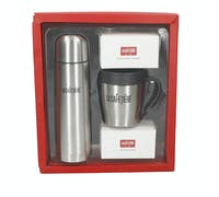 La Cafetière Coffee Gift Set with Thermal Flask, Travel Mug with Lid, Ground Coffee and Whole Wheat Cookies