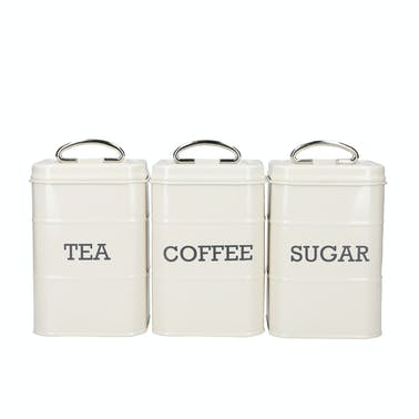 KitchenCraft Living Nostalgia Tea/Coffee/Sugar Canisters in Gift Box, Steel, Antique Cream